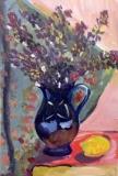 "Blue jug. Acrylic on canvas 10""x12"". Sold"